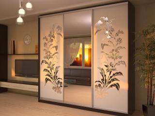 Шкаф-купе «Пескоструйка» срисунком сзеркалами спескоструйным узором «Изысканные цветы»